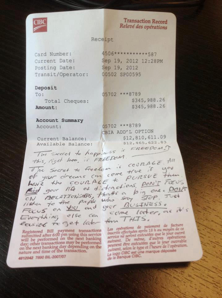 13 Million Dollar Bank Statement Found In A Cafe With A Motivational Message Dailymilk