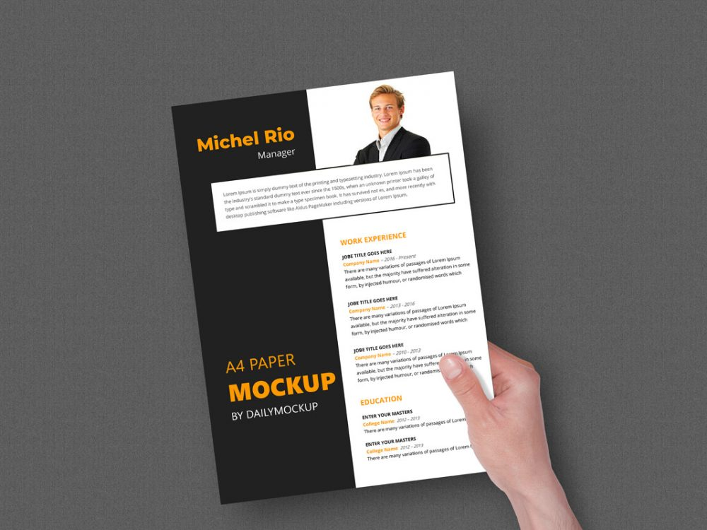 Download Hand Holding A4 Mockup Paper 2020 - Daily Mockup