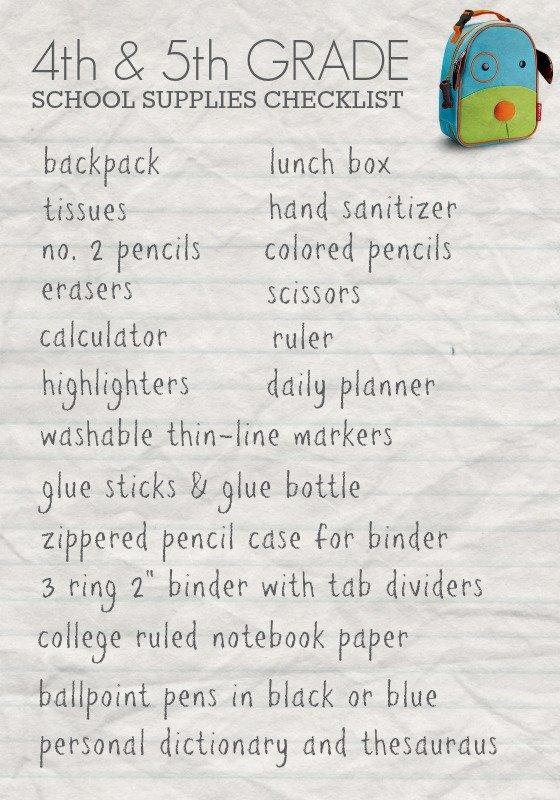 School Supply List: School Supply List Grade 5