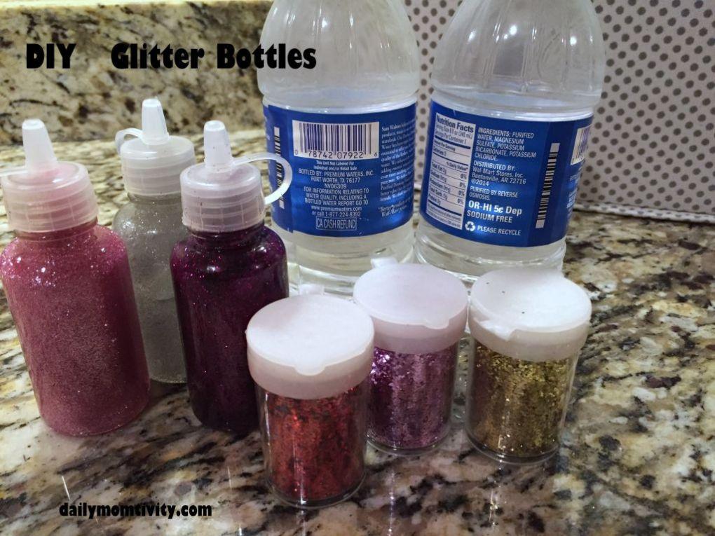 DIY glitter bottles supplies