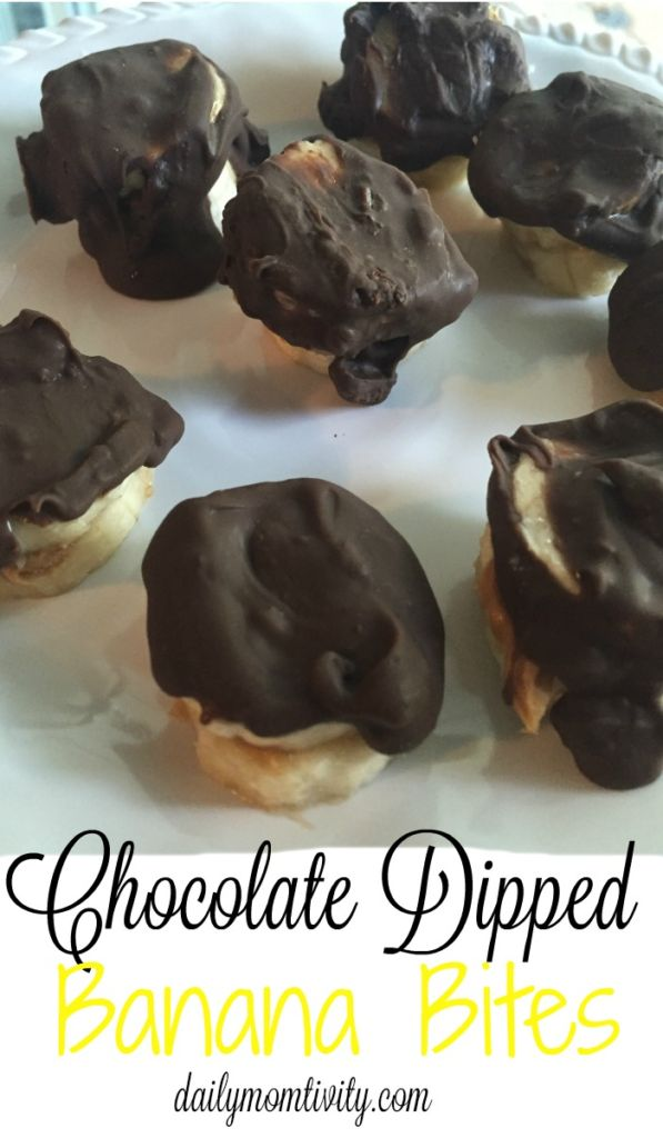 Chocolate dipped PB banana bites are a yummy kid friendly snack or treat. Make a few and they will be gone! http://dailymomtivty.com