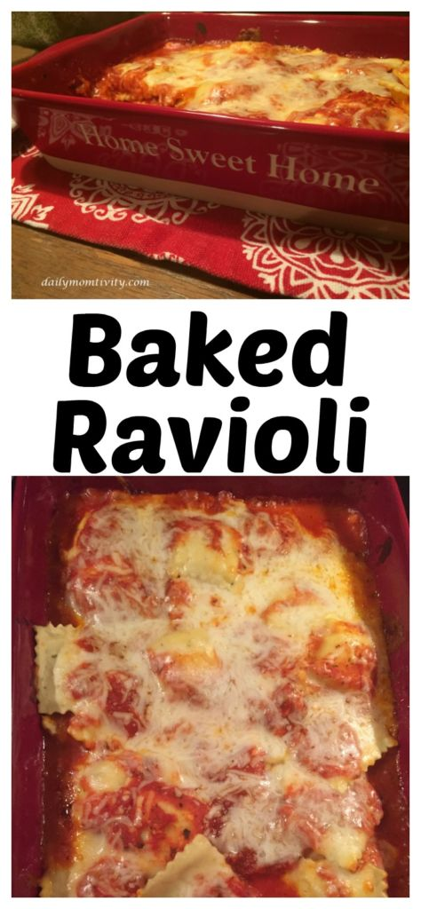 Baked ravioli is a family friendly recipe that is a crowd pleasure! https://dailymomtivity.com