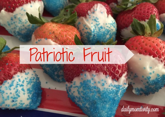 patriotic fruit: white chocolate dipped strawberries for red, white, and blue