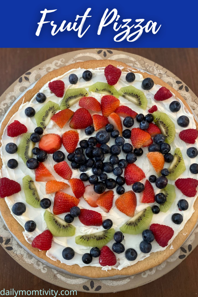 A delicious and tasty treat the kids will love to help you decorate! Fruit Pizza is great for so many occasions from your summer BBQ to Valentine's Day #FruitPizza