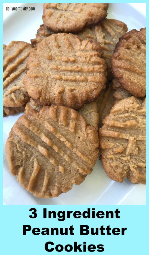 These peanut butter cookies only have 3 ingredients and they are so good! Your family will love them