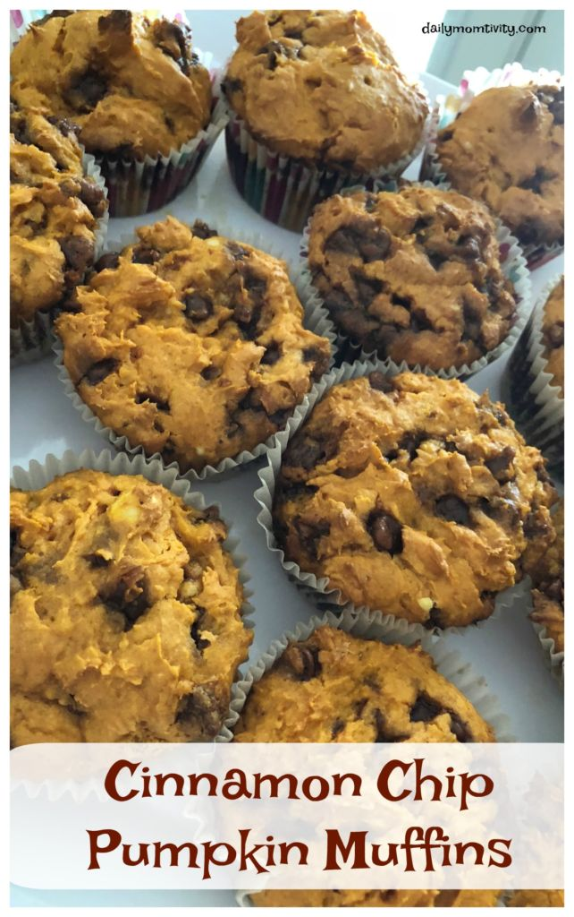 Delicious and easy to make using only 3 things! Cinnamon chip pumpkin muffins! Perfect for a snack, breakfast, and easy to freeze!