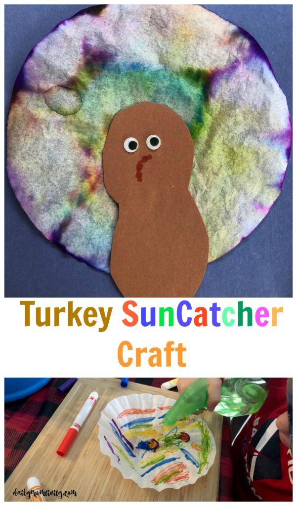 Turkey Suncatcher Craft, the perfect craft for kids to do around turkey day! It makes little mess, good for toddler or preschool