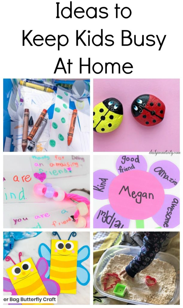 Ideas to Keep Kids busy when you are stuck at home! A full list of crafts and other fun ideas that don't involve screens