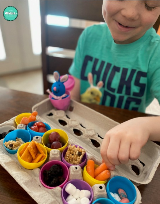 Easter Snack Idea for kids using the plastic eggs! The kids will love this and you can help them try different foods!
