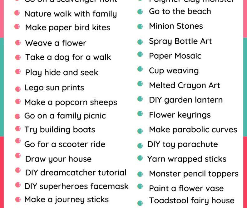 low cost summer activities printable