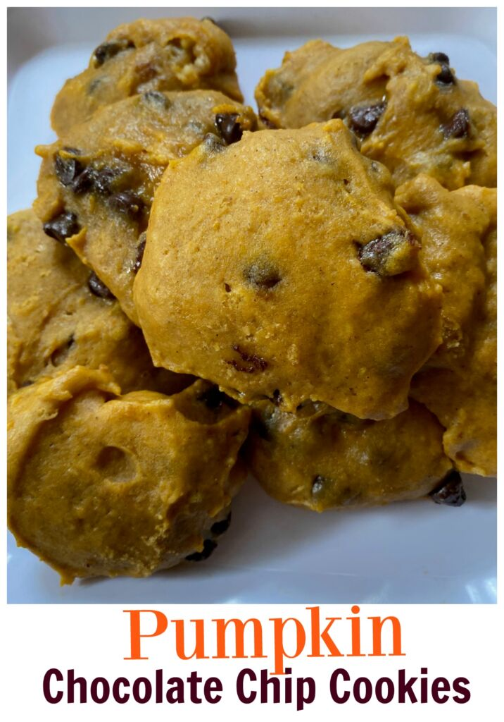 Pumpkin Chocolate Chip Cookies, moist and so delicious- perfect for Fall!