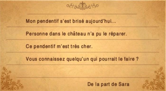 Lettre Sara Final Fantasy III
