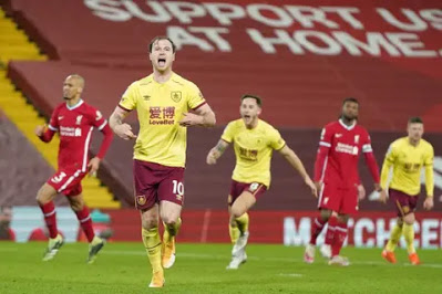 Burnley stun Liverpool to end 4 years unbeaten home record