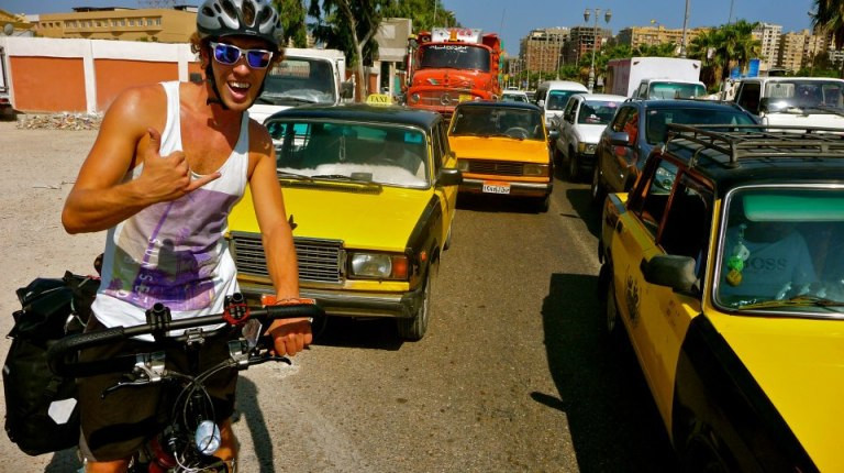 Tom enjoys a Cairo traffic jam Photo by Daring Dynamos