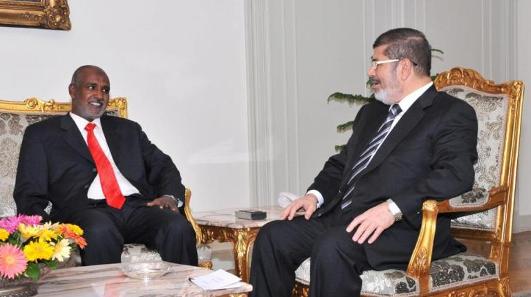 President Mohamed Morsi met with the Sudanese minister of water resources and electricity on Tuesday to discuss cooperation between Egypt and Sudan on the issue of water resources and irrigation (Photo Courtesy of President Morsi's official Facebook page)