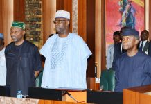 From left: Minister of Budget and National Planning, Sen Udoma Udo Udoma; Secretary to the Government of the Federation, Mr Boss Mustapha and Vice President Yemi Osinbajo during National Economic Council Meeting at the Presidential Villa in Abuja on Thursday (26/04/18). 02247/26/4/2018/Sumaila Ibrahim/ICE/NAN