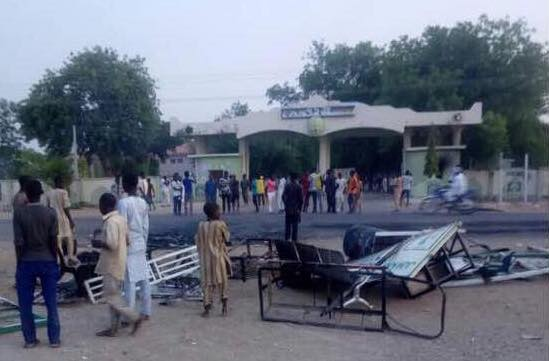 A scene from the May 2, 2018 riot at Kano University of Science and Technology (KUST), Wudil