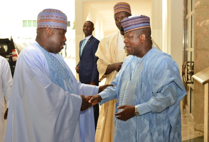 Former PDP National Chairman, Sen Ali-Modu Sherif (l) with Gov Abdulaziz Yari of Zamfara State after a Meeting with President Muhammadu Buhari at the Presidential Villa in Abuja on Thursday (17/5//8) 02581/17/5/2018/Sumaila Ibrahim/ICE/NAN Pic 17. From left: Gov Ibrahim Damkwambo of Gombe State; Former PDP National Chairman, Sen Ali Modu-Sherif and Gov Abdulaziz Yari of Zamfara State during the visit of Sen Ali-Modu Sherif t0 the Presidential Villa in Abuja on Thursday (17/5//8) 02582/17/5/2018/Callistu EwelikeE/NAN