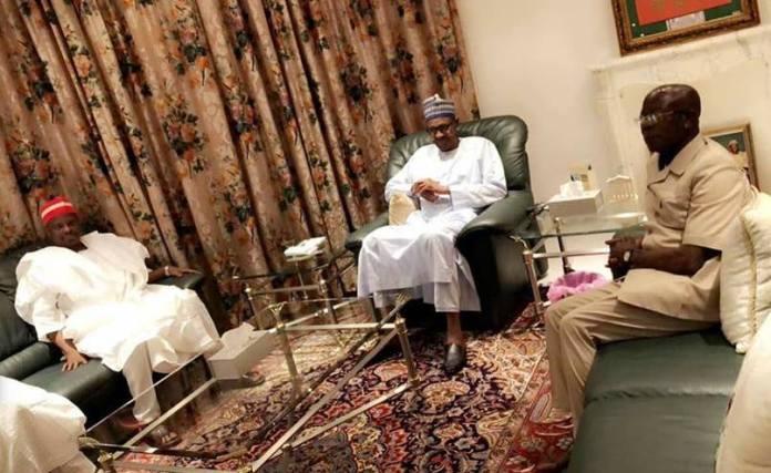 L-R: Senator Rabiu Kwankwaso, President Muhammadu Buhari and Adams Oshiomhole.