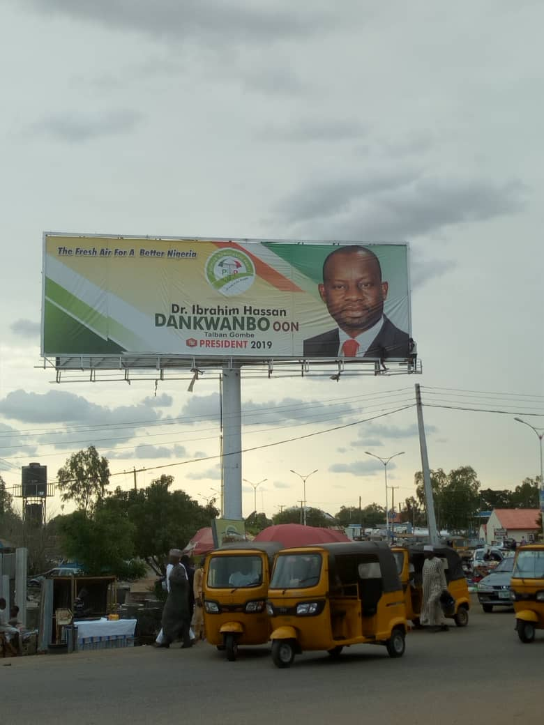 Image result for 2019: Bindow order for the removal of Dankwambo's presidential campaign billboard in Adamawa
