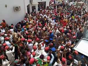 Mammoth crowd of supporters at Kwankwaso' residence