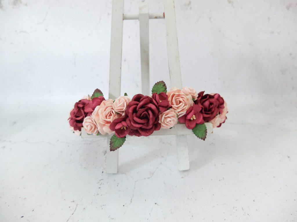 Blush Pink Burgundy Flower Crown Bridal Flower Headpiece