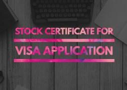 stock certificate visa application