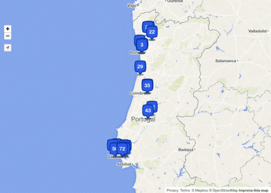 Road trip in Portugal, places, checked in, foursquare