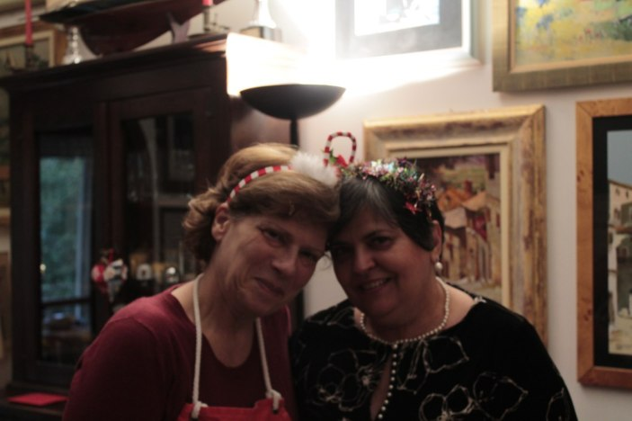 My mother (right) and my mother-in-law (left) posing with their Christmas hair accessories