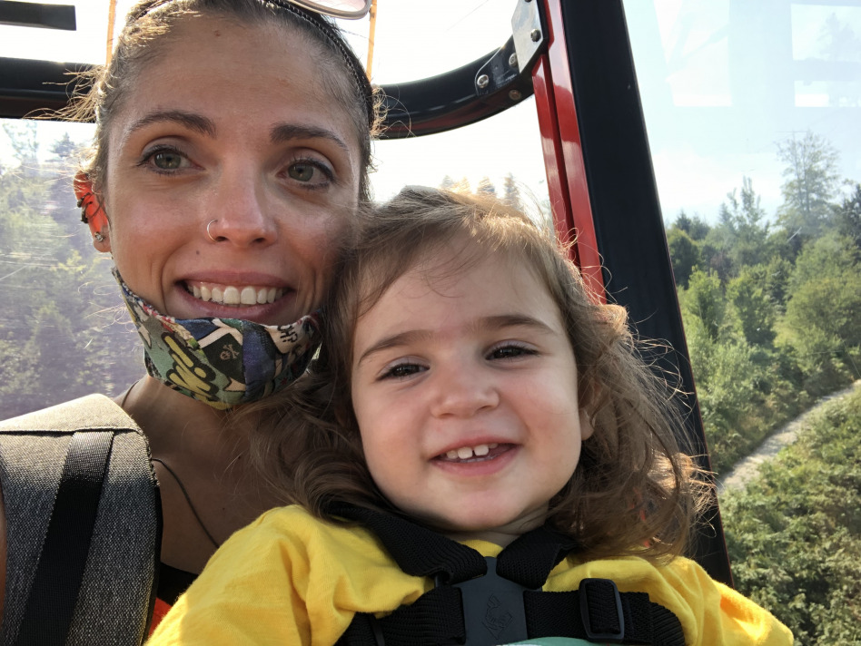 gondola down to Lucerne - travelling with a toddler