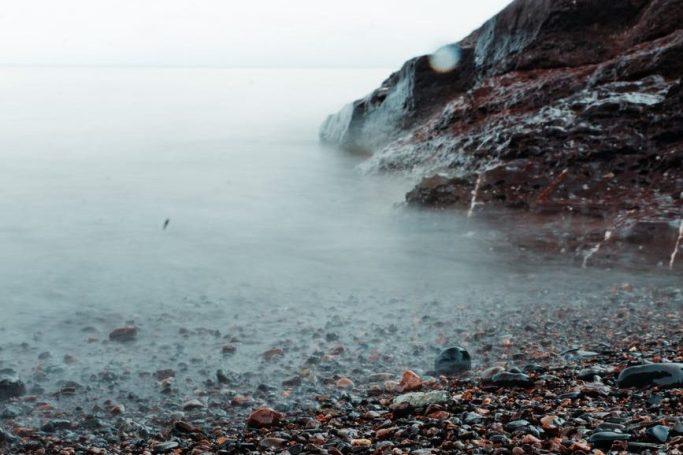 snow sea dawn landscape
