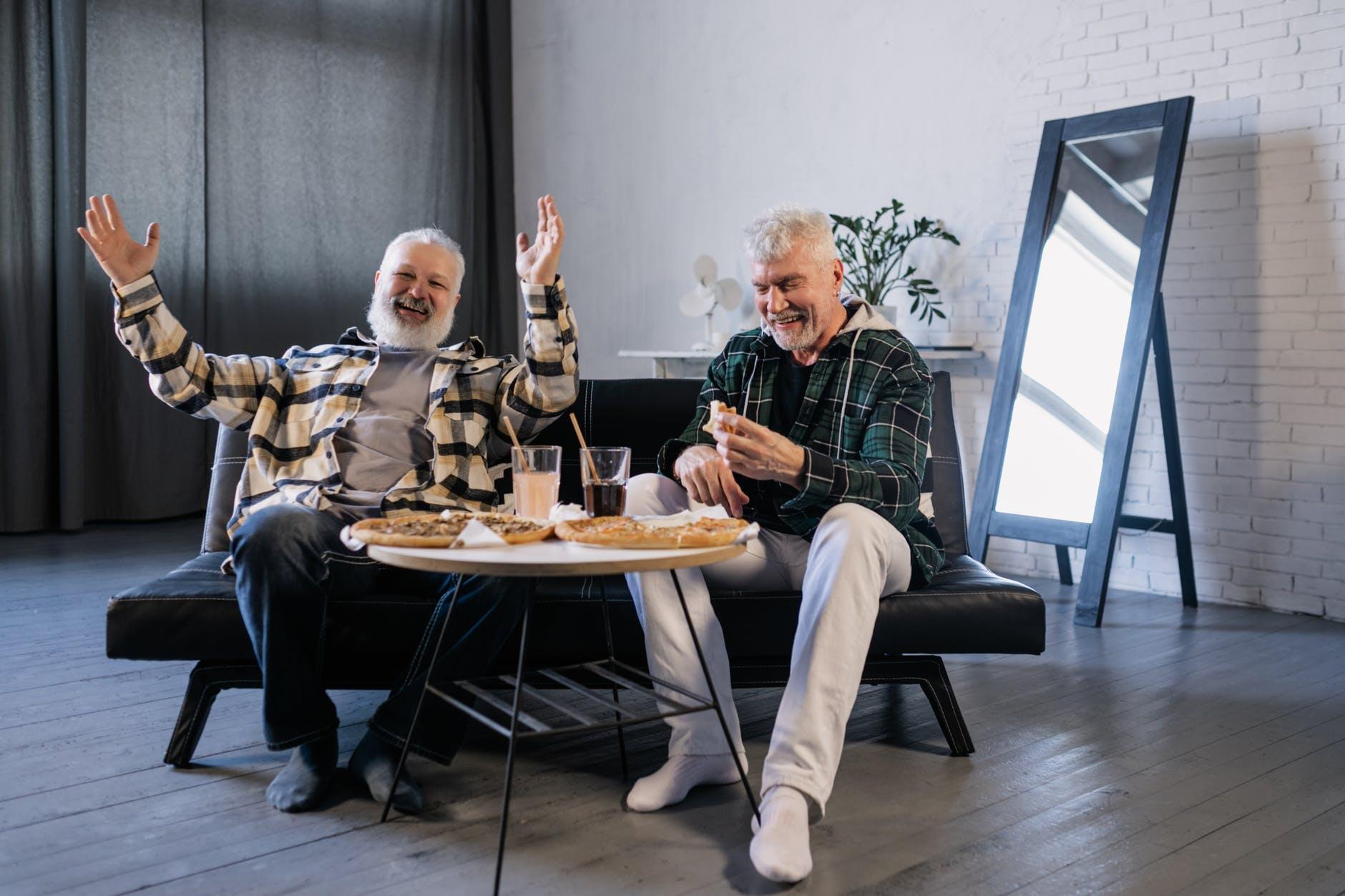 elderly men having fun