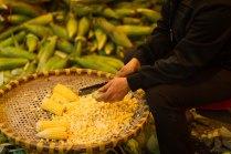 cutting the corn
