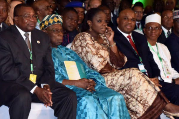 Image result for Drama as Obasanjo refuses to seat with El-Rufai, Adeosun, others at Afreximbank meeting
