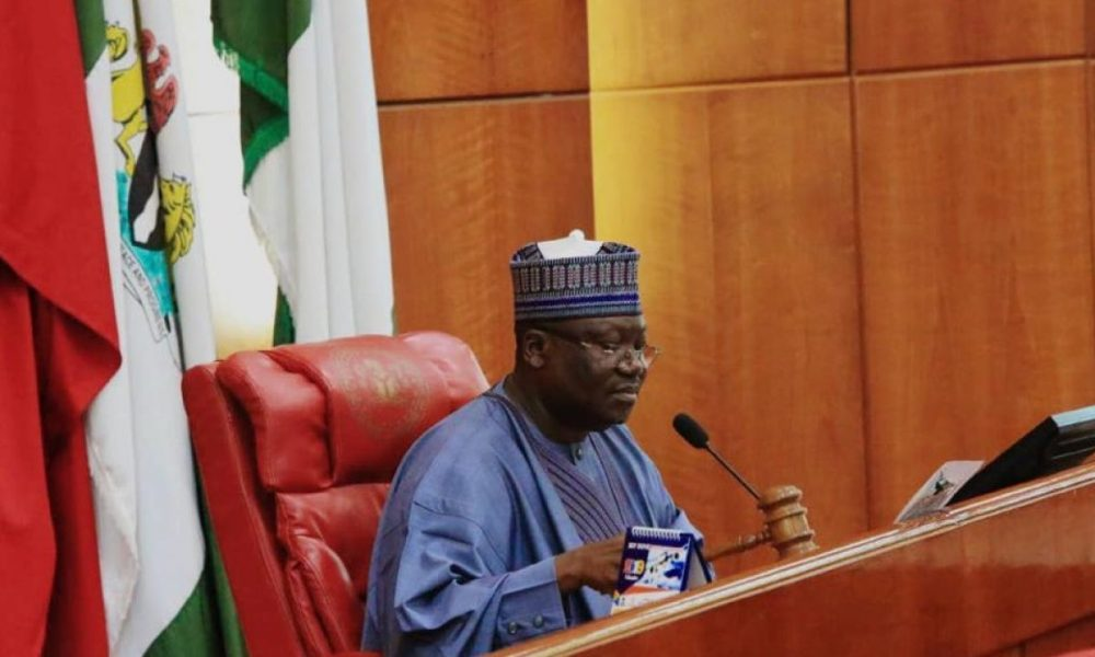 Image result for I receive N750,000 as salary — Senate President, Lawan