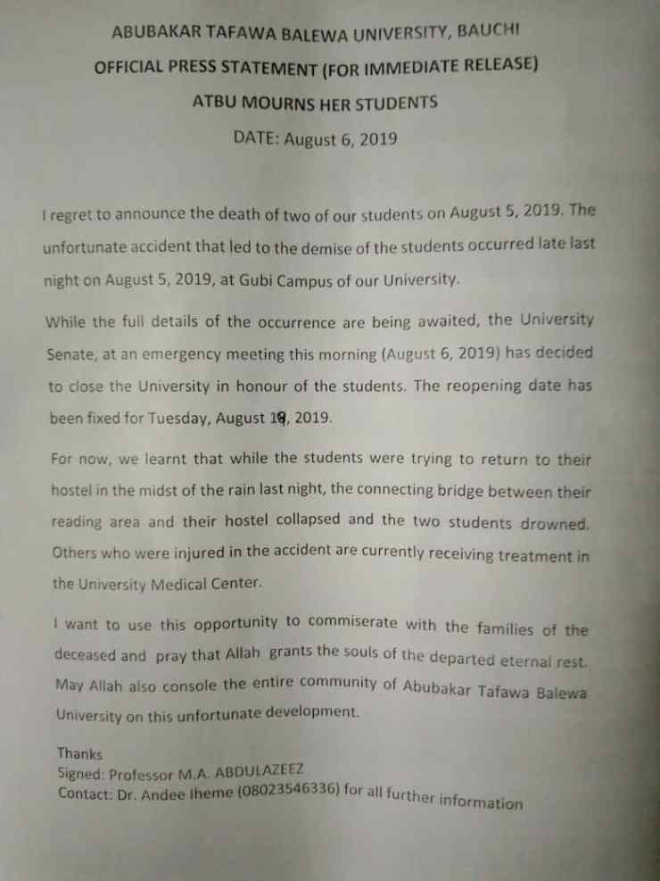 atbu shut down over collapsed bridge, reveals number of students killed ATBU shut down over collapsed bridge, reveals number of students killed IMG 20190806 WA0000
