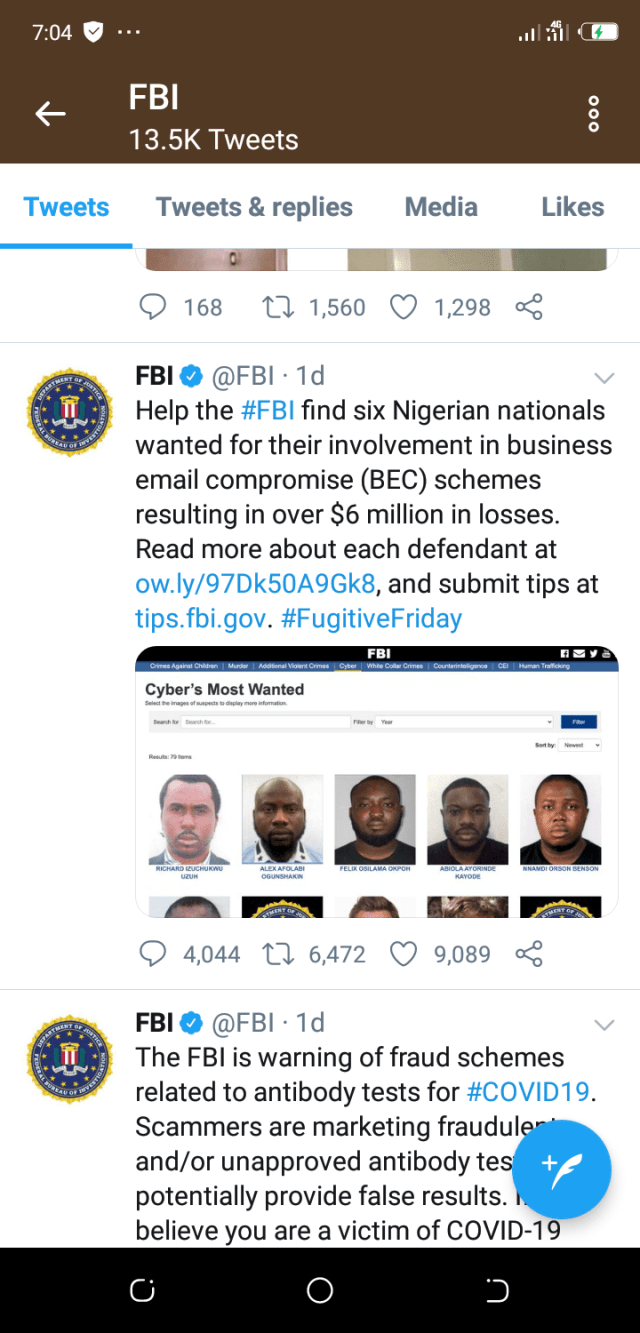 OHAFIA-TV News - Endless Updates; Unbiased   FBI declares six Nigerians wanted over alleged N2.4bn internet fraud