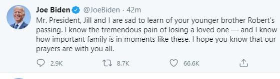 biden - Joe Biden reacts to death of Donald Trump's younger brother, Robert