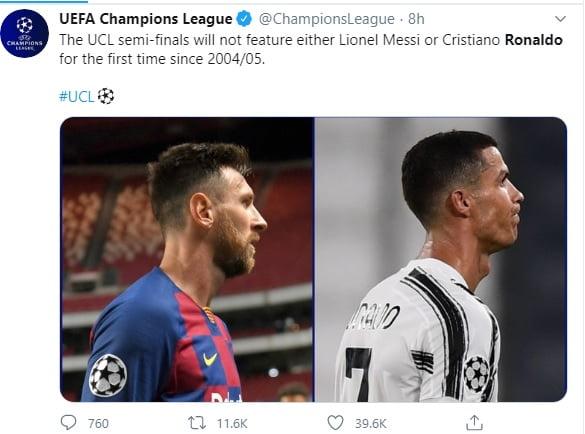 uefa - Champions League: UEFA makes revelation about Messi, Ronaldo as Bayern humble Barcelona