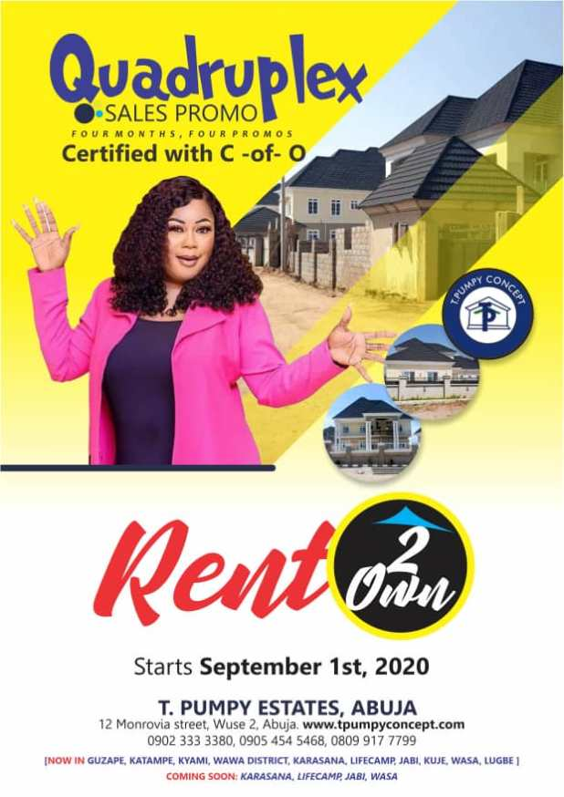 IMG 20200903 WA0006 - Quadruplex: T Pumpy announces children's estate in Abuja as plot of land with C-of-O goes for N399k