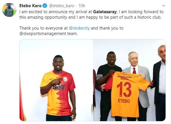etebo - Nigerian midfielder, Etebo joins Galatasaray