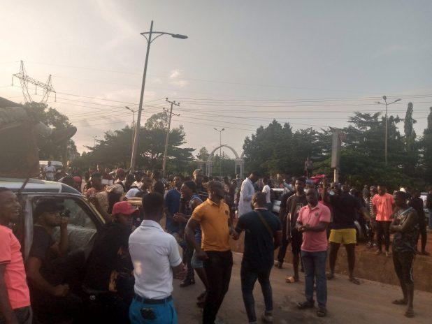IMG 20201014 173200 887 scaled - End SARS: Motorists stranded as protesters block Enugu-Onitsha highway