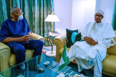 Buhari meets T.Y. Danjuma at Presidential Villa