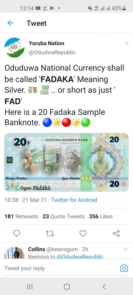 Screenshot 20210321 131413 Twitter 461x1024 - Promoters of Oduduwa Republic introduces currency [PHOTO]