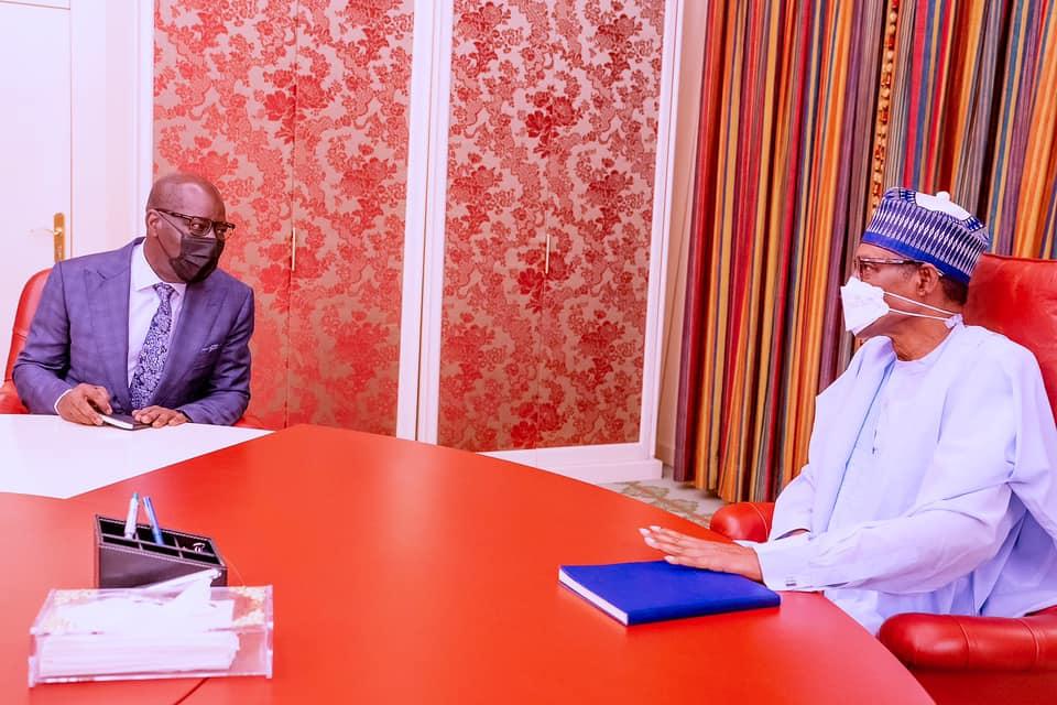 Buhari meets Obaseki in Abuja [PHOTOS]