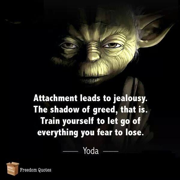 Attachment leads to jealousy. The shadow of greed, that is. Train yourself to let go of everything you fear to lose. Yoda quote