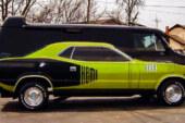 Plymouth Cuda On The Side Of A Custom Van