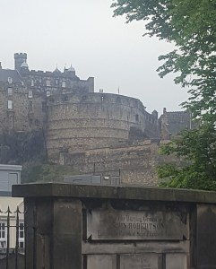 View of Edinburgh Castle from Greyfriars Kirkyard. June 2018. (Kathryn Funk)