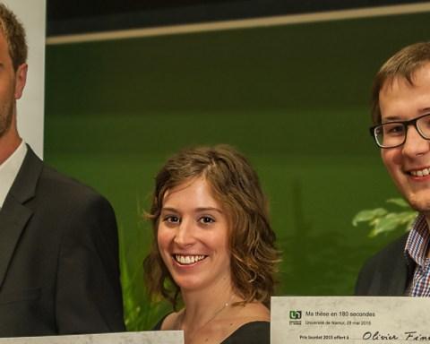 Les lauréats de la finale interuniversitaire belge: Adrien Deliège, Sophie Bauduin et Olivier Finet. © UNamur
