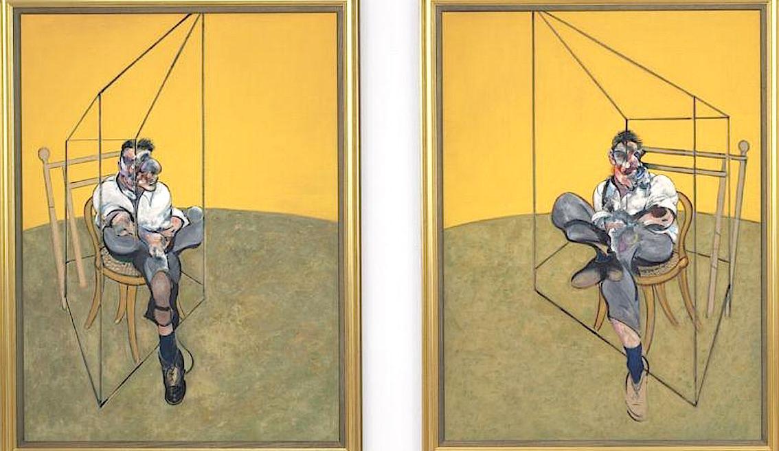 """Deux des trois tableaux du triptyque """"Etudes de Lucian Freud"""" de Francis Bacon, adjugé 105 millions d'euros en 2013, chez Christie's, à New York."""